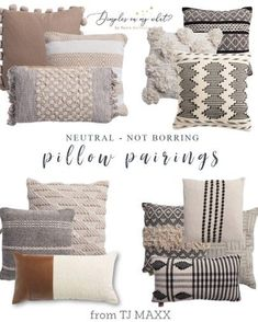 I'm a throw pillow addict. So finding affordable modern farmhouse pillows is essential to feed my habit. These are the perfect pillow combinations to keep it neutral, not boring. #modernfarmhousedecor #modernfarmhouselivingroom #moderfarmhousebedroom Living Room Pillows, Sofa Pillows, Home Living Room, Decorative Couch Pillows, Cushions, Couch Pillow Arrangement, Neutral Pillows, Decoration, Bedroom Decor