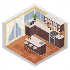 Buy Kitchen Interior Isometric Composition by macrovector on GraphicRiver. Kitchen interior isometric composition with bar stand oven microwave and shelves for kitchenware flat vector illustra. Doodle Box, Bar Stand, Four Micro Onde, Background Vintage, Art Background, Laptop Wallpaper, Buy Kitchen, Kitchen Photos, Simple Backgrounds
