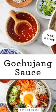 Gochujang sauce may be a traditional Korean food, but it's so delicious that you'll want to drizzle it over everything! This easy recipe makes a sweet/spicy/tangy sauce that's fantastic on bibimbap, bowls, burgers, and more! Bibimbap Sauce, Bibimbap Recipe, Korean Food Bibimbap, Gordon Ramsay, Gochujang Sauce Recipe, Chutney, Dressings, Whole Food Recipes, Cooking Recipes