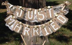 Rustic Wedding Cake Topper just married burlap handmade beige ivory lace rosette Rustic Cake Stands, Rustic Wedding Cake Toppers, Wedding Cake Stands, Cool Wedding Cakes, Wedding Cupcakes, Burlap Wedding Decorations, Backyard Wedding Invitations, Rustic Invitations, Wedding Backyard