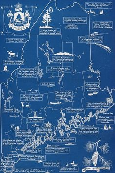 Vintage illustrated map of Maine