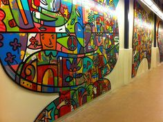interactive community mural. cardel place. calgary. calgary art. Building Ideas, Team Building, Wedding Ideas Calgary, Dean Stanton, Mural Ideas, Community Events, Public Art, Awesome, Places