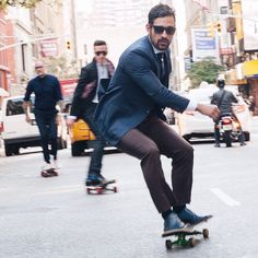 sneakers and pearls, street style, boys with suits on skate boards, trending now