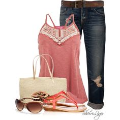 A fashion look from April 2014 featuring NSF jeans, Wallis sandals and American Eagle Outfitters tote bags. Browse and shop related looks.