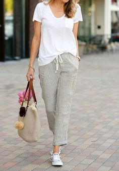 Casual summer fashion: Linen pant, Converse sneaker, white t-shirt