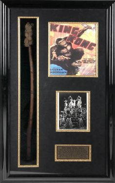 A wood, fiber and wire prop torch used in the film King Kong (RKO, 1933). The prop was used by actors playing the natives on Skull Island where King Kong is discovered. Actors holding torches such as this can be seen as Fay Wray's character is being sacrificed as an offering to King Kong. Accompanied by a letter of authenticity explaining that the item was purchased from the Culver City Prop House. Housed in a shadow box with a photograph of the torches being used inPrice Estimate: $4000…