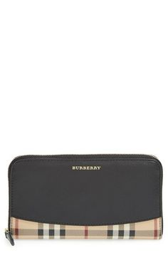 Burberry 'Elmore - Haymarket Check' Zip Around Wallet available at #Nordstrom