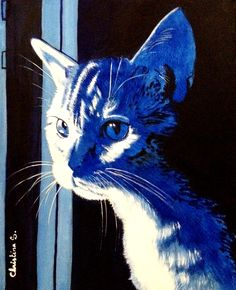 Le blues du chat - huile sur toile 30x40 - 40.2017