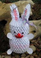 3D Origami White Easter Bunny by jchau