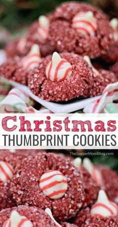 christmas cookies thumbprint Weihnachtspltzchen Delicious chewy holiday peanut butter blossoms with an extra special festive touch! A fun and unique Christmas cookie recipe to try this year! Unique Christmas Cookie Recipe, Christmas Cookie Exchange, Best Christmas Cookies, Christmas Baking, Christmas Deserts, Christmas Foods, Holiday Baking, Baking Recipes, Cookie Recipes