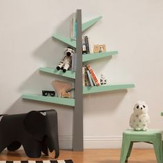 Babyletto Spruce Tree Bookcase, Made with Carb II Compliant MDF, Spruce tree shaped bookcase, each branch holds roughly children's books. Tree Bookshelf, Bookshelf Design, Bookshelves For Kids Room, Tree Shelf, Cheap Furniture, Kids Furniture, Steel Furniture, Rustic Furniture, Unpainted Furniture