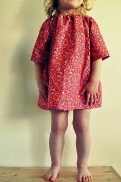 Red floral print toddler girls tunic dress top by tabithaandhugo