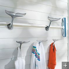 child's bathroom - Whale Tail Hooks. for towels; smallest size.