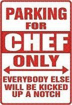 """Here is a PARKING SIGN suggested by one of the most popular TV shows today, EMERIL LIVE! Sign is 12"""" x 18"""" baked WHITE aluminum with DURABLE VINYL RED lettering. Holes are pre-drilled for easy mountin"""