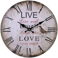 Live Laugh Love Clock (measures approx. 34cm across)