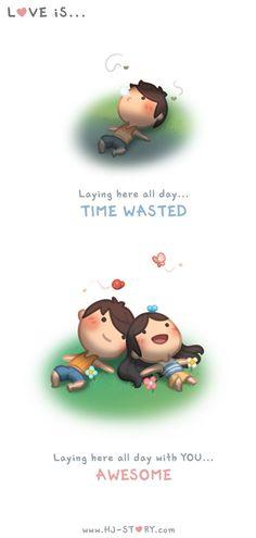 HJ-Story :: Amar é --- Deitado aqui o dia todo ... O tempo desperdiçado .... Deitado aqui o dia todo com você ... impressionante