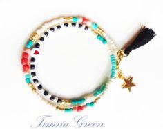 Negro brazalete de perlas pulsera borla con por feltlikepaper