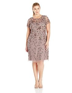 54ca7859316 Amazon.com  Adrianna Papell Women s Plus-Size Short Sleeve Beaded Cocktail  Dress  Clothing