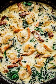 Creamy garlic butter Tuscan shrimp - a quick .- Cremige Knoblauchbutter toskanische Garnelen – ein schnelles und einfaches Abendessen unter d… – Jule H. Creamy garlic butter Tuscan shrimp – a quick and easy dinner under the … – all - Healthy Dinner Recipes For Weight Loss, Shrimp Recipes For Dinner, Shrimp Recipes Easy, Easy Dinner Recipes, Chicken Recipes, Easy Meals, Healthy Recipes, Garlic Shrimp Recipes, Dinner Ideas