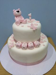 #Edible #sugar teddy bear 1st #birthday christening cake topper pink /blue girl/b,  View more on the LINK: http://www.zeppy.io/product/gb/2/301995975603/