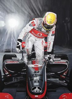 Hamilton Singapore Grand Prix Night Race Winner 2009 – gouache painting.