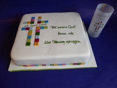 Torte Fondant zur Konfirmation, buntes Kreuz passend zur Tischdeko - Fondant Cake for Confirmation, coloured cross matches with table decoration