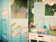 Incorporating shutters into the wedding decor.