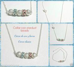 Collar-de-plata-tibetana-con-esferas-stardust-y-CZ-azul-y-rojo-Silver-necklace
