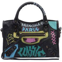 Balenciaga Women Mini Classic City Graffiti Leather Bag ($1,875) ❤ liked on Polyvore featuring bags, handbags, shoulder bags, black, balenciaga handbags, leather handbags, genuine leather purse, real leather shoulder bags and balenciaga