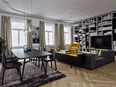 Gorgeous Yellow Accent Living Rooms | Living Room Ideas | Home Decor Ideas | Modern Sideboards | Luxury Furniture | Find more in www.bocadolobo.com/en
