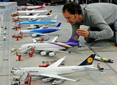 The world's largest model airport, Miniatur Wunderland in Hamburg, Germany. Also, the world's largest model railway landscape. 40 planes, 40,000 lights, 15,000 figurines, 500 cars, 10,000 trees, 50 trains, 1000 wagons, 100 signals, 200 switches and 300 buildings.