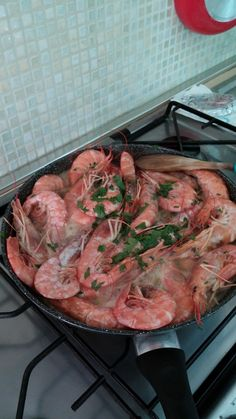 Prawns in the pan - (cooked by me)