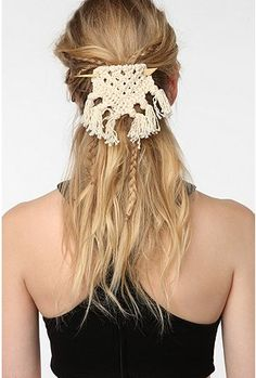 Macrame Barrette $19.00 from #urbanoutfitters Simple summer touch!
