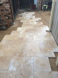 Laying french pattern travertine - is that was the is called? I'm not fan of the linear lines of traditional tile work. Mumbai, Travertine Floors, Travertine Bathroom, Limestone Flooring, Terrazo, French Pattern, Tuile, Traditional Landscape, Traditional Tile