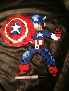 Captain america Perler bead sprite
