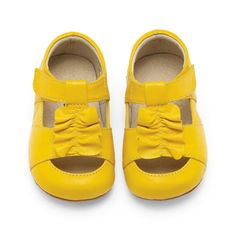 Yellow shoes - Love these shoes for a little girl to wear with a Navy blue dress!