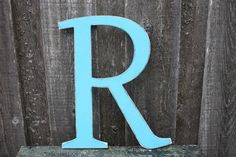"""Wooden Letter Wall Letter Uppercase Shabby Chic Cottage Home Decor - 18"""" Handpainted Turquoise Rustic Wood Alphabet Letter R"""