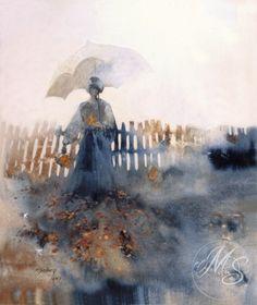 """""""The Poppy Field,"""" watercolor by Morten E. Solberg Sr."""