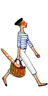 The French sailor shirt--even better when the wearer is toting a French baguette.