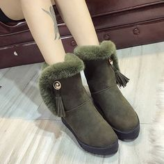 Tassel Fur Lining Slip On Snow Boots