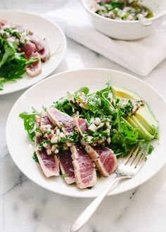 Seared Ahi Tuna with Chimichurri Sauce, Arugula, and Avocado from Kitchen Confidante