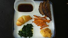 Beef brisket w/ sweet potato fries,  Crescent,  spinach and Mac & Cheese
