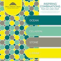 Color Combinations | Ocean Blue Green Celadon Citrine Stone | Cherry Blossom Charm