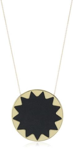 House of Harlow 1960 Black Leather Large Sunburst  Necklace