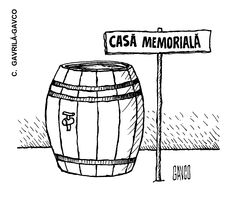 """CASA MEMORIALA"".  Caricatura de C. GAVRILA-GAVCO, publicata in almanahul PERPETUUM COMIC '97 editat de URZICA, revista de satira si umor din Romania"