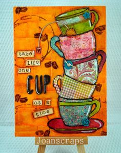 Hi!!   Today I am sharing another canvas I made following >> this tutorial << by Vicky Papaioannou. I love the look of the stacked cups ...