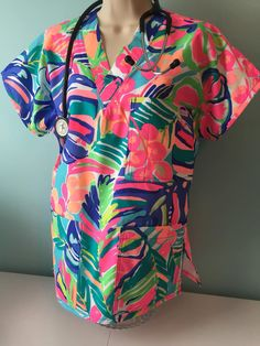 9f297a5f2b4 Scrub Top / Medical scrubs / Lilly Pulitzer / in 15 different blue colors /Nursing  Scrub Top / Nurse / made to order