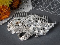 YEDDA Bridal Hair Comb Vintage Rhinestone and by GlamorousBijoux, $75.00