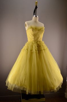 1950s yellow prom dress 50s tulle dress Size medium by melsvanity, $128.00