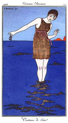 Fashion plate of an early swimsuit, France, 1913, by George Barbier.